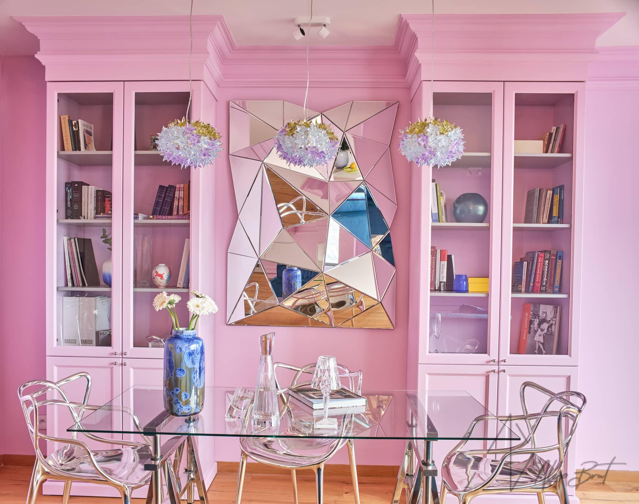 Návrh interiéru bytu - Růžový interiér